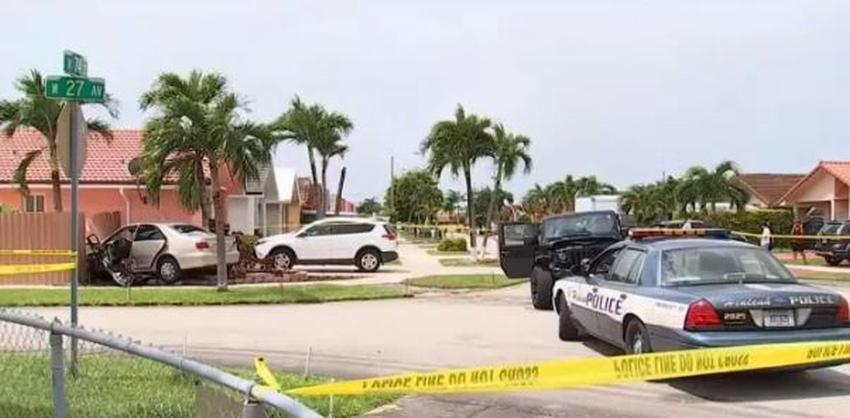 Conductor ignora señalización de Pare y provoca aparatoso accidente en vecindario residencial de Hialeah