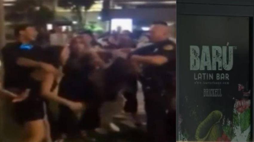 Video de una mujer golpeando a policía que hacía un arresto afuera de un bar en Brickell se hace viral