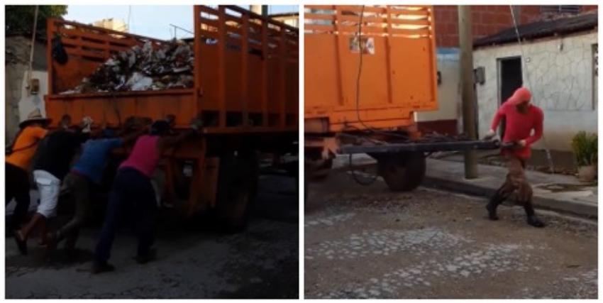 Indignante: No hay combustible para recoger la basura, y cubanos jalan una carreta para poder hacerlo