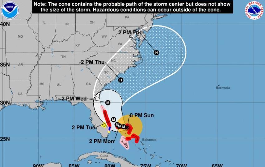 Vientos de Tormenta Tropical podría afectar partes del Sur de la Florida a causa del huracán Dorian