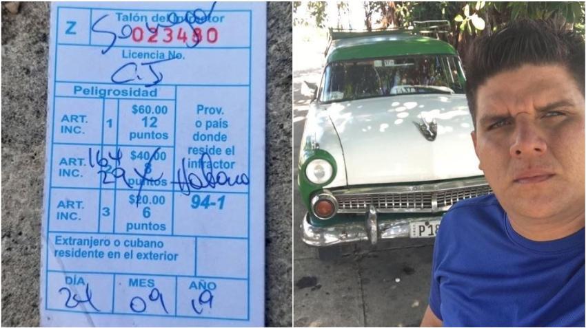 Taxista cubano que llevaba personas gratis denuncia que fue multado injustamente por un policía