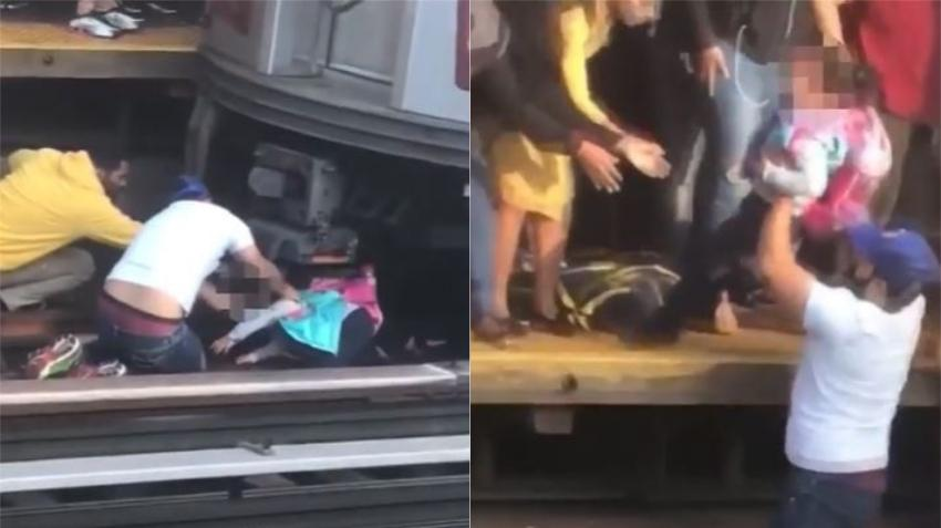Padre salta con su niña de 5 años delante de un tren en Nueva York