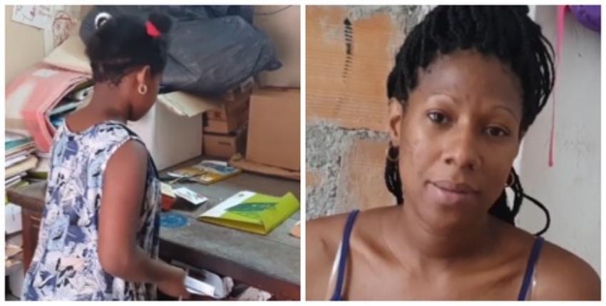 Cubana embarazada y su hija de 8 años ocupan un local abandonado en La Habana