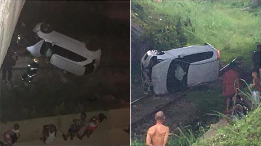 Un carro de renta en La Habana cae por un puente a la entrada del Cotorro