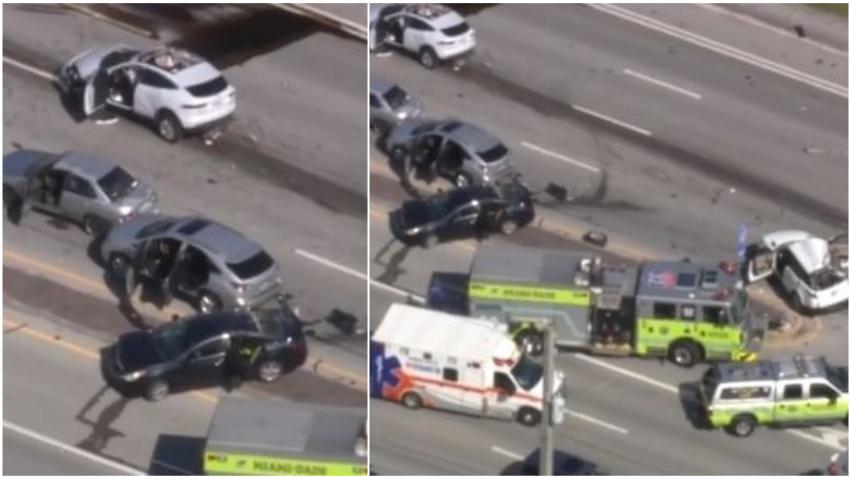 Nueve personas hospitalizadas en accidente entre 6 vehículos en North Miami Beach; autoridades piden evitar el área