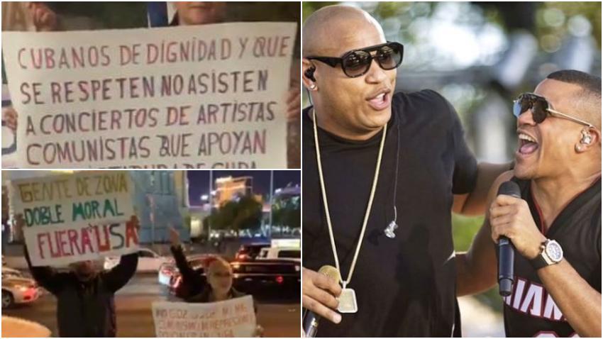 Grupo de cubanos protesta contra Gente de Zona en Las Vegas