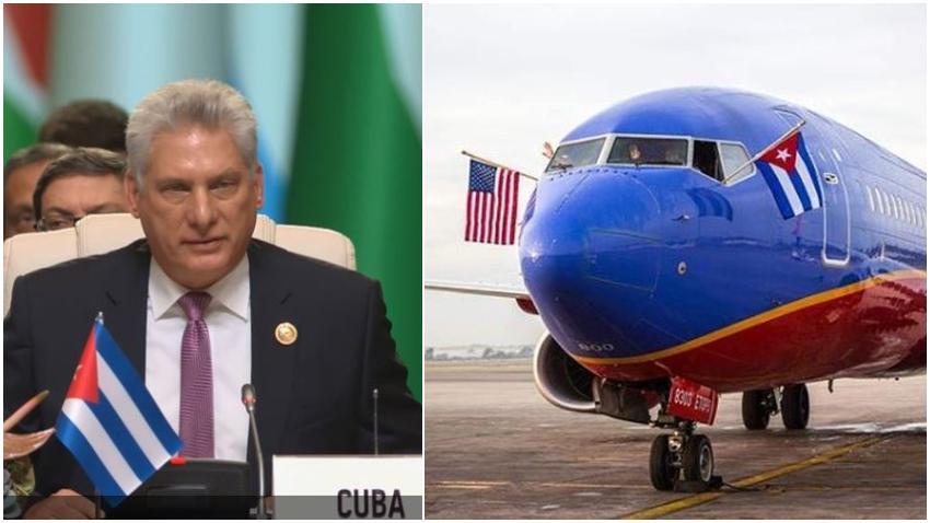 Miguel Díaz-Canel frustrado por las nuevas medidas impuestas por la administración Trump en relación a los vuelos a Cuba