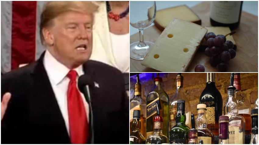 Administración Trump apunta los cañones a Europa; Impone aranceles del 25% a varios productos europeos incluido el Whisky escocés, queso italiano y el vino francés