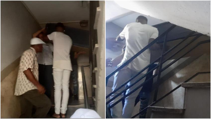 En una funeraria de La Habana bajan un cadáver por las escaleras para ahorrar combustible en el ascensor