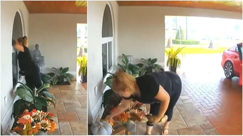 En cámara una mujer sube a su maletero todos los adornos del portal de una vivienda del suroeste de Miami