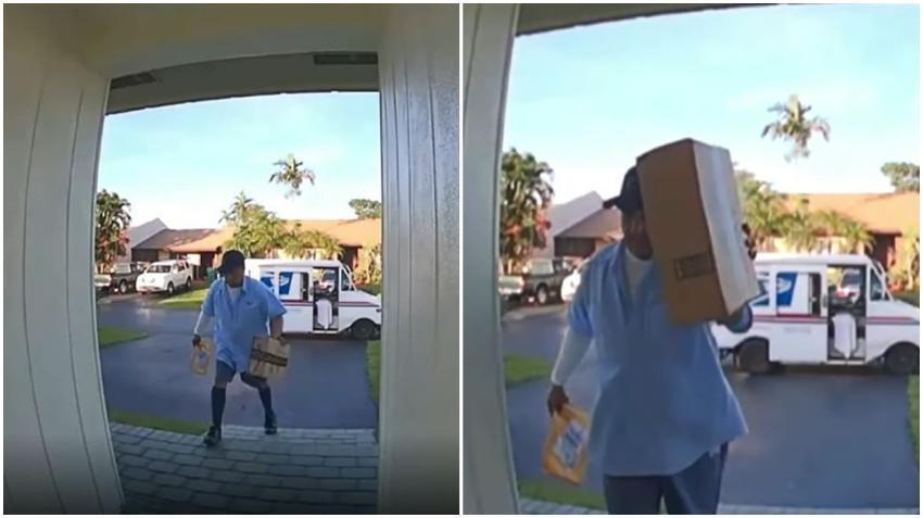 Un cartero en Miami queda grabado en cámara tirando una caja al piso intencionalmente