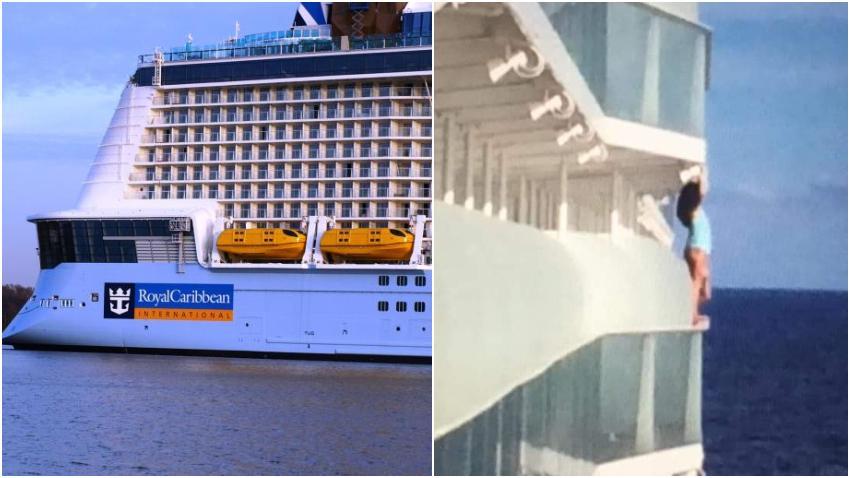Mujer expulsada de un crucero de Royal Caribbean después de colgarse fuera del barco para un selfie