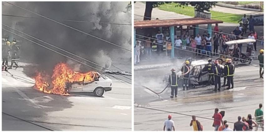 Totalmente destruido otro auto en Cuba, tras incendiarse en plena calle