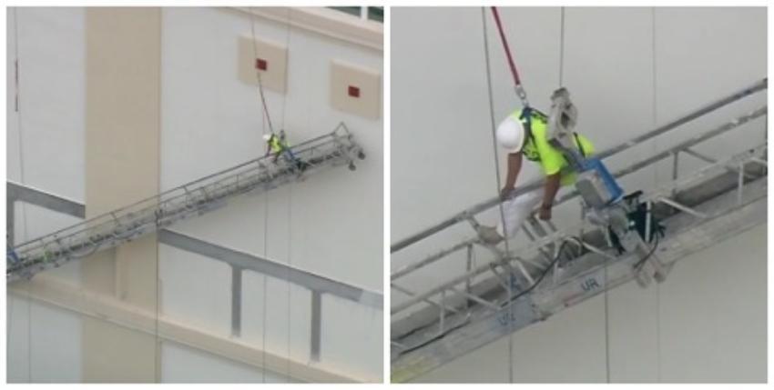 Rescatan a un trabajador de la construcción en Miami, después de quedarse colgando de su arné de seguridad