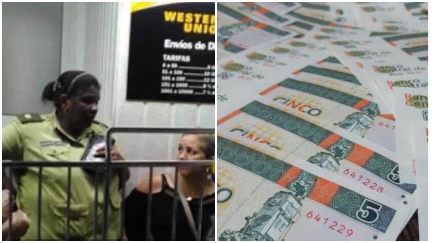 Polémica en las redes sociales por foto de una oficial del MININT recibiendo dinero en la Western Union