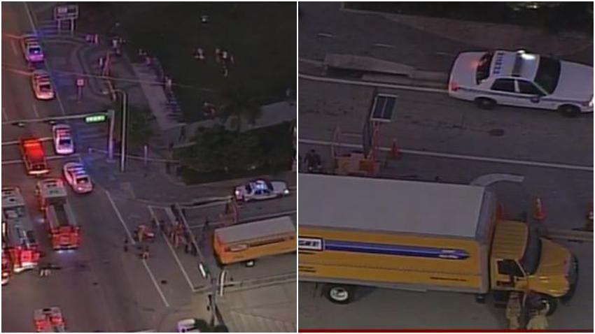 Ciclista rescatado de debajo de un camión en Downtown  de Miami