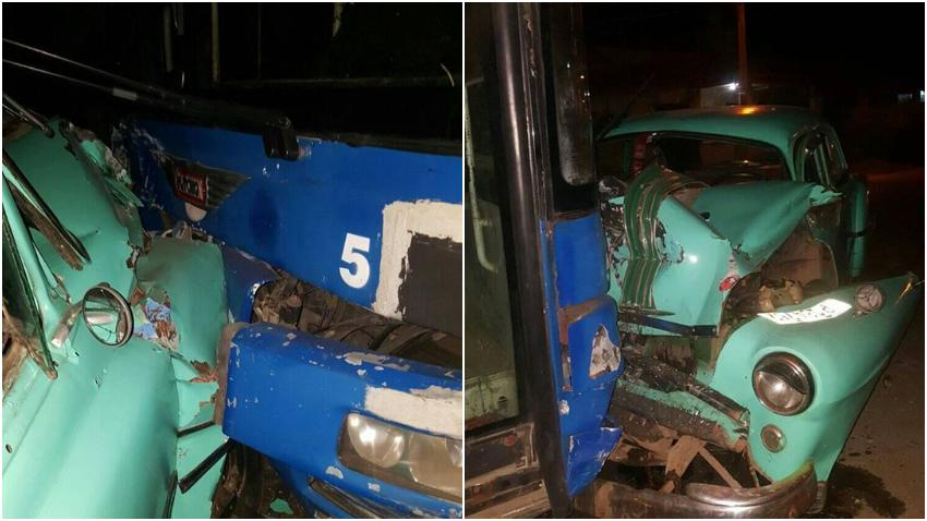 Almendrón impacta contra un ómnibus en La Habana