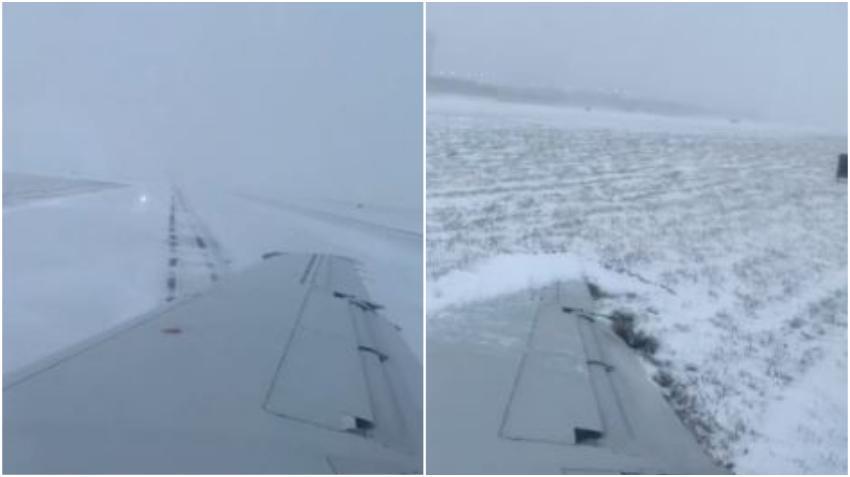 Un avión se sale de la pista y termina aterrizando en la nieve en el Aeropuerto de Chicago
