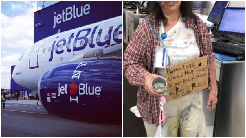 """Indignación por el disfraz de una empleada de JetBlue con un cartel que decía: """"Necesito ayuda para regresar a Casa, Puerto Rico o Cuba"""""""