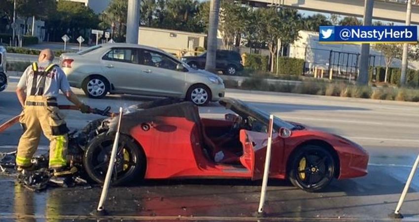 Lujoso Ferrari se incendia saliendo del Aeropuerto Internacional de Miami en Thanksgiving