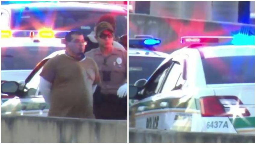 Policía de Miami arresta a un hombre que caminaba por el Palmetto con un arma