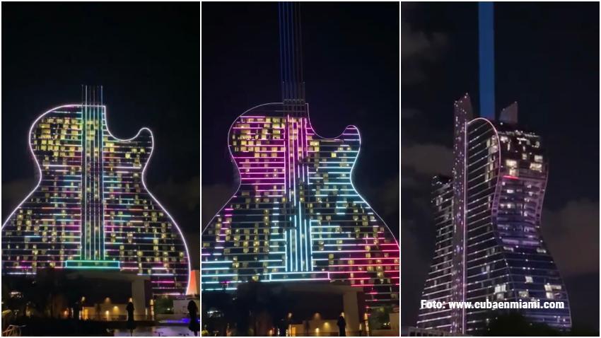 Espectáculo de luces del hotel con forma de guitarra Seminole Hard Rock Hotel & Casino