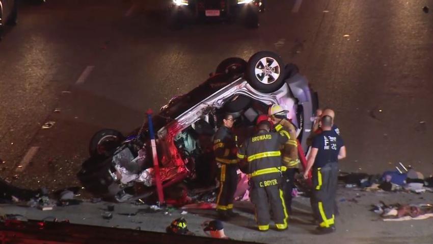 Vehículo que viajaba en dirección contraria en la I-95 causa aparatoso accidente