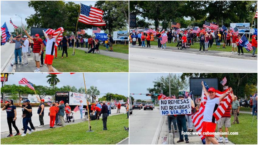 Grupo de cubanos en Miami se manifiesta en apoyo al presidente Donald Trump en el Tropical Park