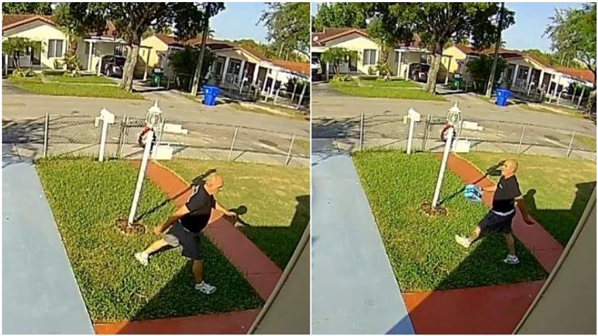 Un hombre roba champú y productos de higiene facial de un portal en Miami