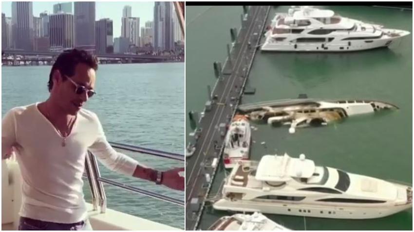 Especialistas aún trabajan para sacar el yate de Marc Anthony incendiado en la marina Watson Island en Miami