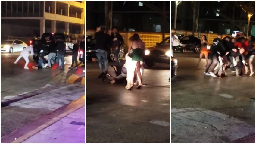 Grupo de jóvenes cubanos se enfrentan en una pelea en las afueras del club Studio23 en Miami Beach