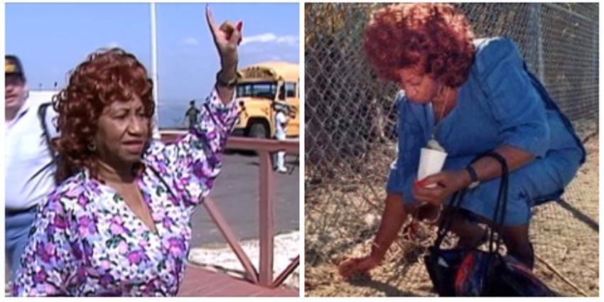 Imagen de Celia Cruz recogiendo tierra de Cuba desde la Base Naval de Guantánamo, se hace viral en las redes en respuesta a Pitbull
