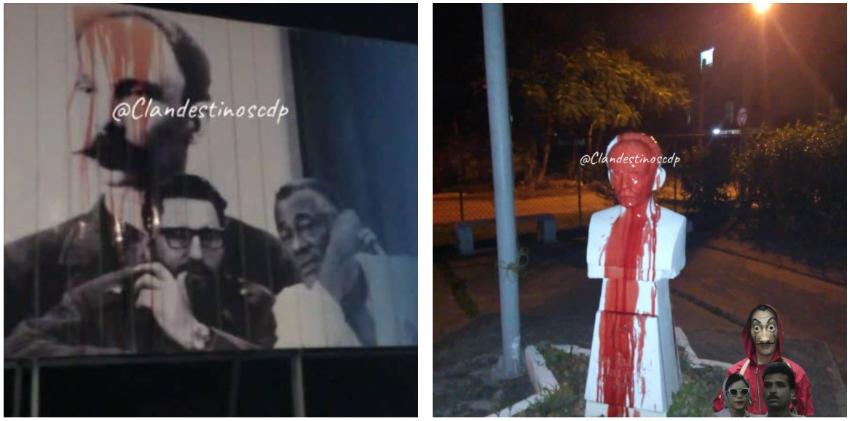 Así amaneció La Habana el primer día de 2020: Bustos de Martí teñidos de rojo en señal de protesta #ElCambioesYa