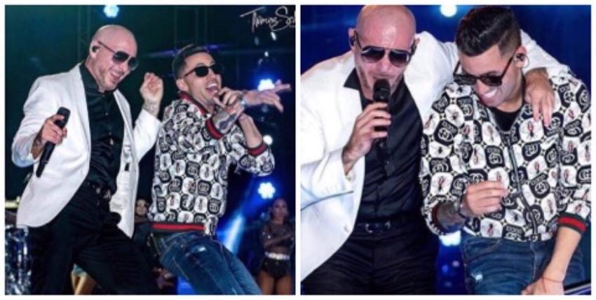 Lenier Mesa muy agradecido con Pitbull por la oportunidad de cantar juntos en el Bayfront Park de Miami