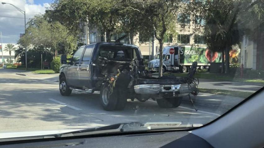 Un tanque explota en la parte trasera de una camioneta en el Doral causando el cierre de algunas vías