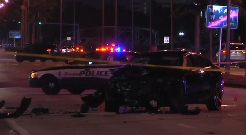 Accidente entre una patrulla de Hialeah y otro vehículo; ambos conductores son hospitalizados