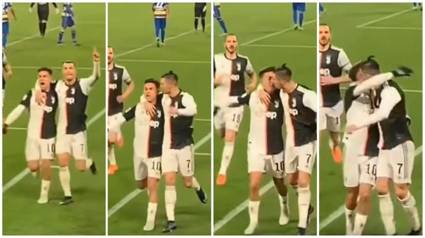 Se hace viral beso accidental de Cristiano Ronaldo con Dybala durante la celebración de un gol
