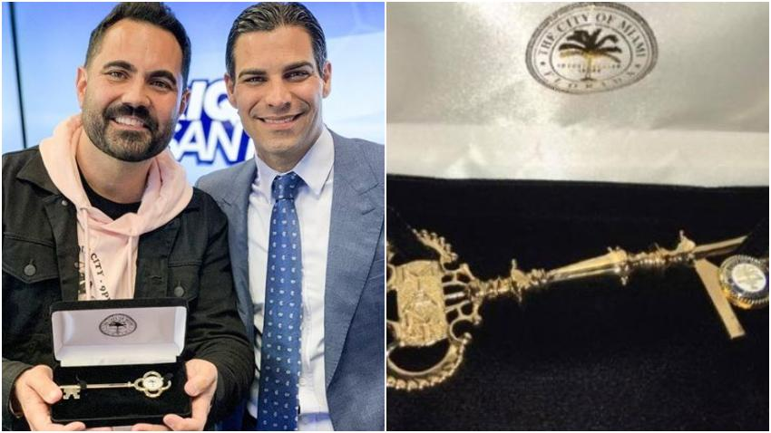 Alcalde Francis Suárez entrega la llave de la ciudad de Miami al cubanoamericano Enrique Santos