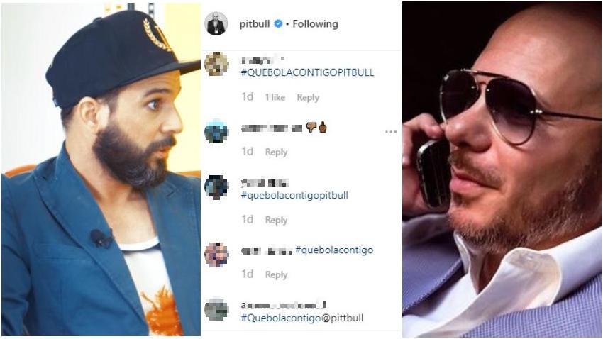 Presentador cubano Alexander Otaola le inunda las redes sociales a Pitbull del hashtag #quebolacontigo