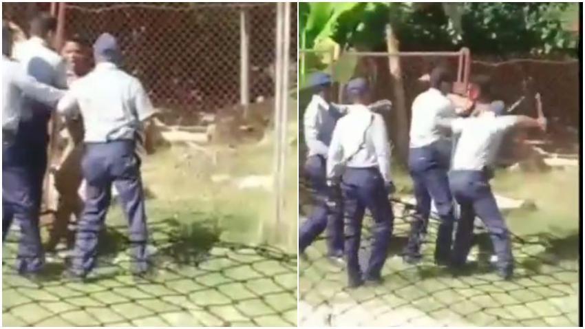 Oficiales de la policía propinan una brutal paliza a un joven desnudo en Contramaestre, Santiago de Cuba