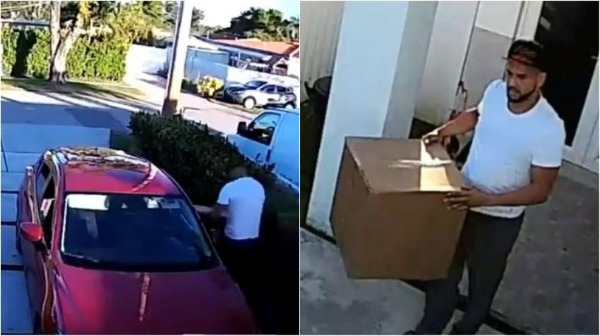 Buscan a un hombre que robó dos grandes paquetes de un portal de una casa en céntrico vecindario del suroeste de Miami