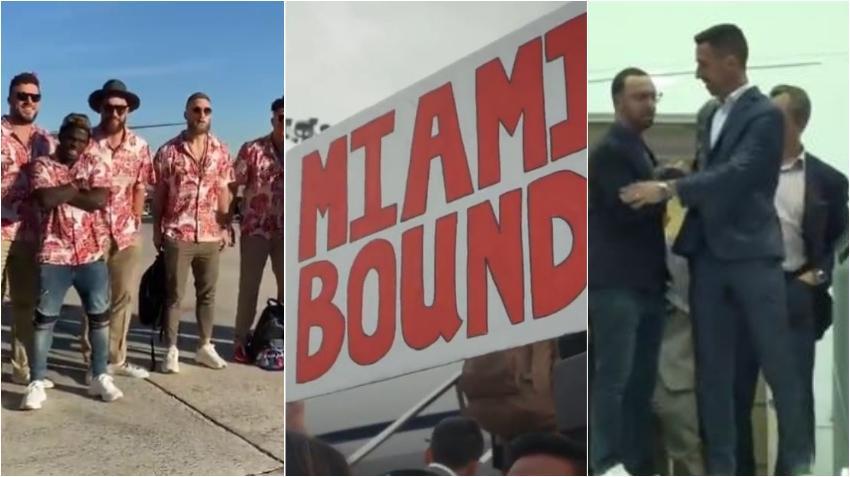 Llegan a Miami los jugadores que participarán en el Super Bowl el próximo fin de semana: Los Chief de Kansas City y los 49ers de San Francisco