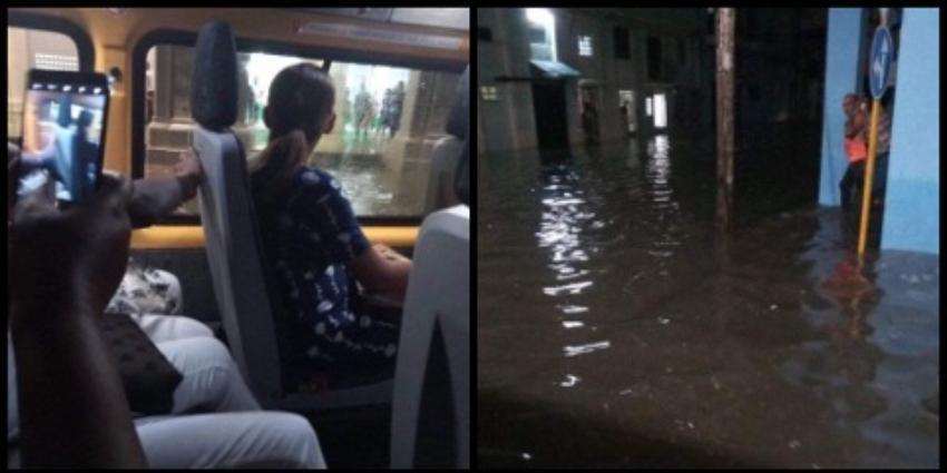 Inundaciones en los alrededores de Cuatro Caminos dejan a un ómnibus parado en medio de la calle
