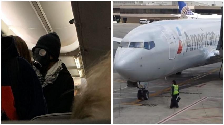 Pasajero de American Airlines con máscara de gas crea pánico en un vuelo en Estados Unidos; Termina expulsado del vuelo