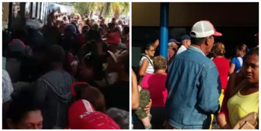 Cubanos peleando y empujándose para comprar detergente y papel sanitario en una TRD de Las Tunas