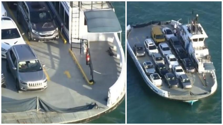 Un carro cae al mar desde el ferry de Fisher Island cerca de Miami Beach