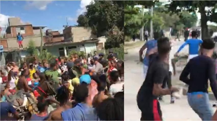 Cubanos lanzan piedras contra los Boinas Negras en Santiago de Cuba