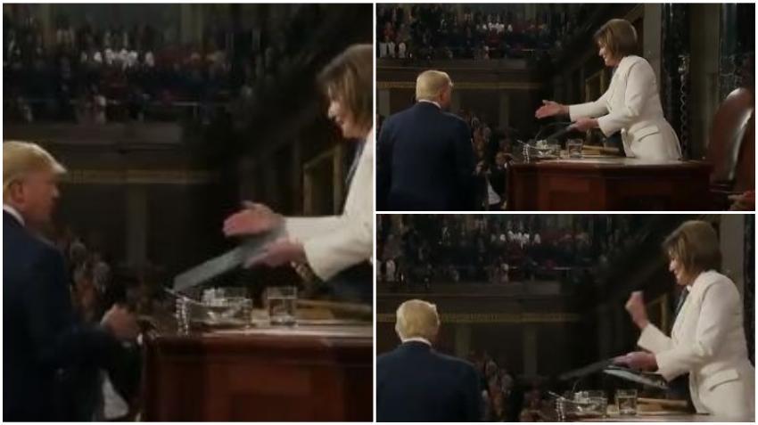 Presidente Trump deja a Pelosi con la mano estirada durante el Estado de la Unión