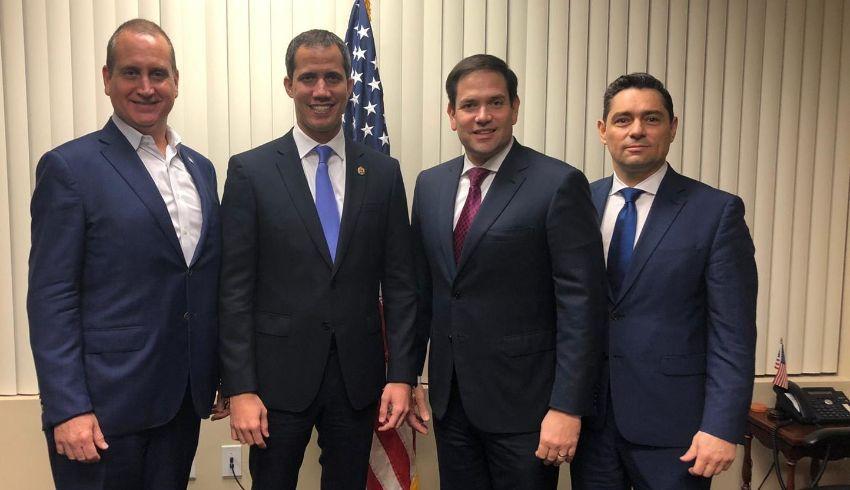 Marco Rubio y Díaz-Balart se reunieron con Juan Guaidó en Miami para expresarle su respaldo