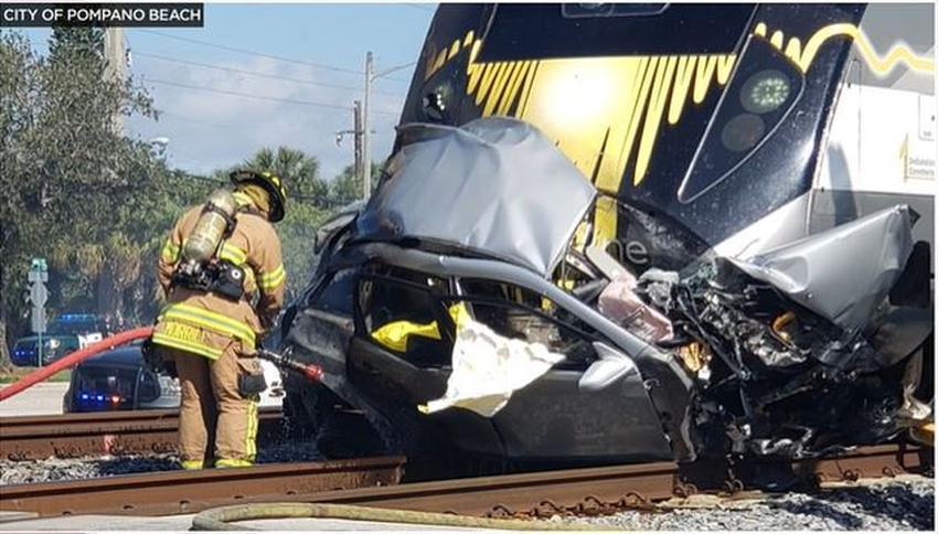 Muere el conductor de un vehículo tras ser impactado por el tren Brightline en el sur de Florida